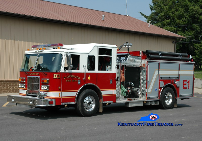 <center> Flatwoods  Engine 1 <br> 2009 Pierce Contender 1500/1000 <br> Greg Stapleton photo </center>