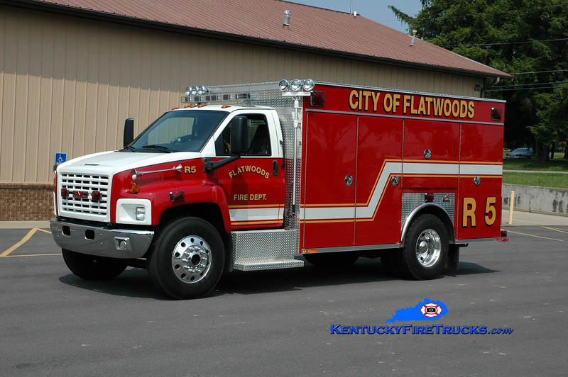 <center> RETIRED <br> Flatwoods  Rescue 5 <br> 2007 GMC 5500/Ferrara  <br> Greg Stapleton photo </center>