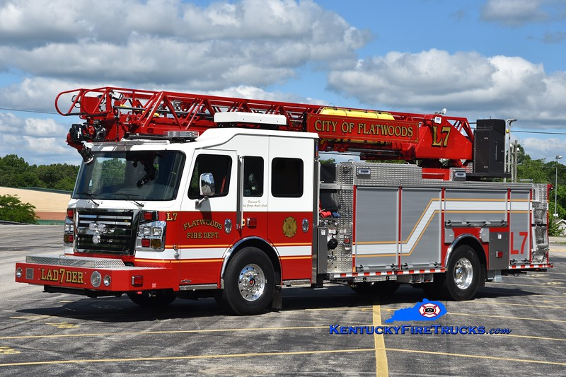 Flatwoods Ladder 7<br /> 2019 Rosenbauer Commander 1500/500/78' <br /> Greg Stapleton photo