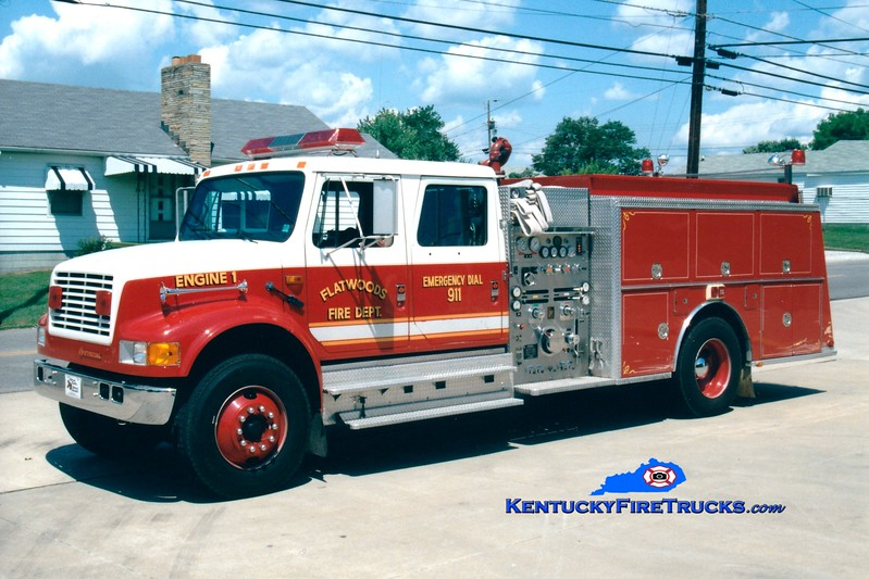 <center> RETIRED <br> Flatwoods  Engine 1 <br> 1991 International 4900/KME 1250/1250 <br> Greg Stapleton photo </center>