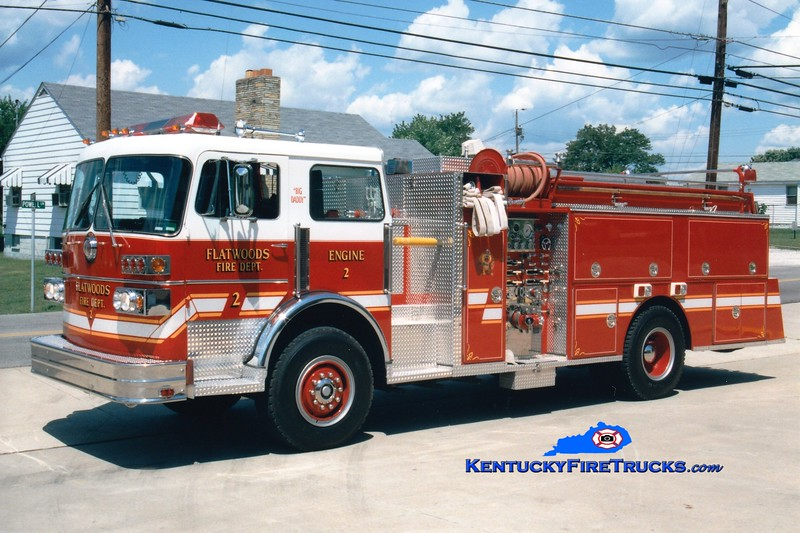 <center> RETIRED <br> Flatwoods  Engine 2 <br> 1981 Sutphen Deluge/1994 Dills 1250/750 <br> Greg Stapleton photo </center>