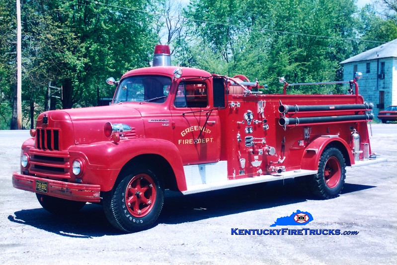 <center> RETIRED <br> Greenup  Engine 3 <br> 1960 International R/American 500/500 <br> Greg Stapleton photo </center>