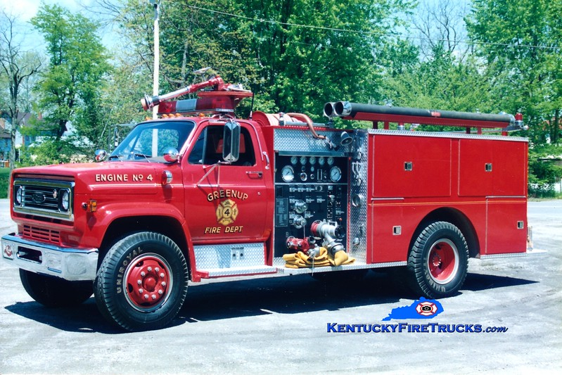 <center> RETIRED <br> Greenup  Engine 4 <br> 1979 GMC C70/Pierce 1000/750 <br> Greg Stapleton photo </center>