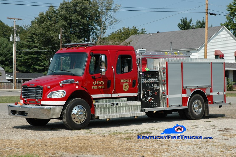 <center> Lloyd  Engine 2 <br> 2014 Freightliner M2-106/Rosenbauer 1250/1000  <br> Greg Stapleton photo <br> </center>