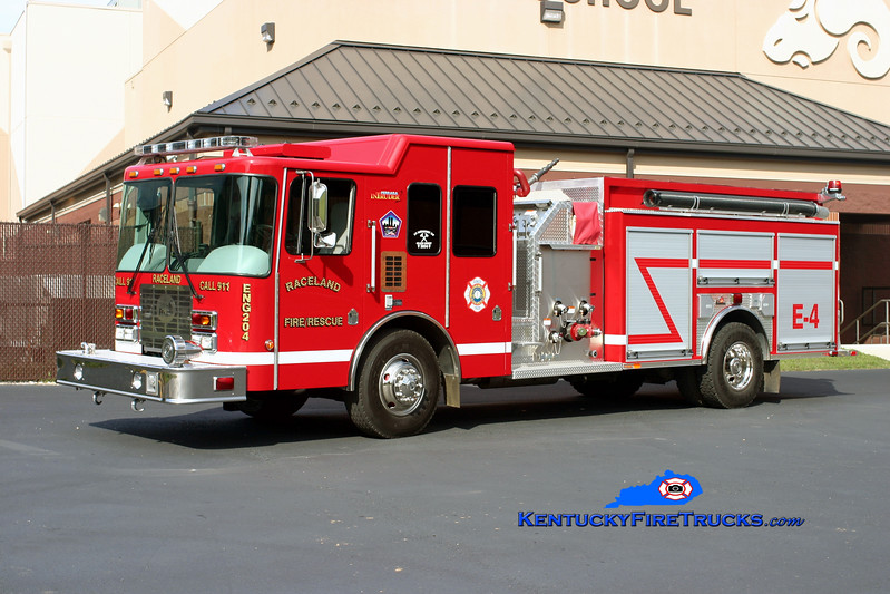 <center> Raceland  Engine 4 <br> 2008 HME/Ferrara Intruder 2 1500/1000 <br> Kent Parrish photo </center>
