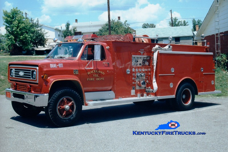 <center> RETIRED <br> Raceland  Engine 2 <br> 1977 Chevy C65/Allegheny 1000/750 <br> Greg Stapleton photo </center>