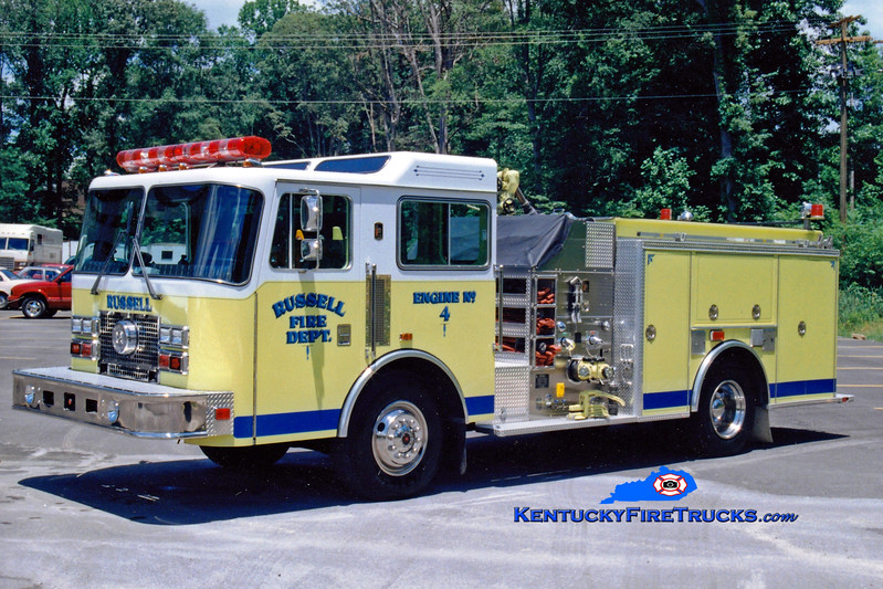 <center> RETIRED <br> Russell  Engine 4 <br> 1991 KME Renegade 1250/750  <br> Greg Stapleton photo </center>