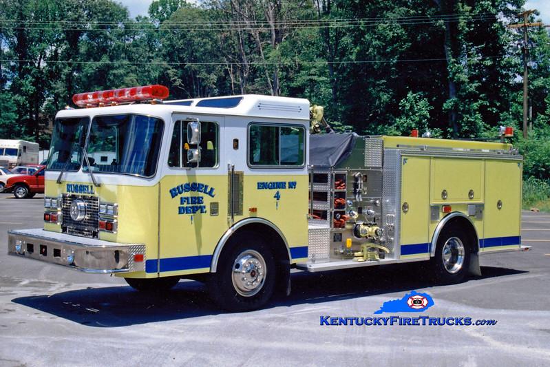 <center> Russell  Engine 4 <br> 1991 KME Renegade 1250/750  <br> Greg Stapleton photo </center>
