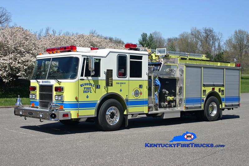 <center> Russell  Engine 1 <br> 1997 Pierce Dash 1250/750  <br> Kent Parrish photo </center>