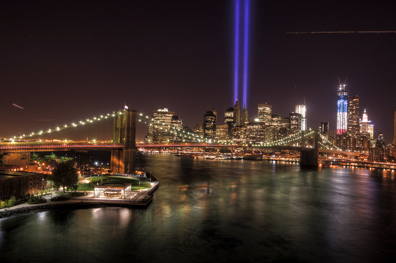 Lower Manhattan from Manhattan Bridge - 9/11 Memorial Lights