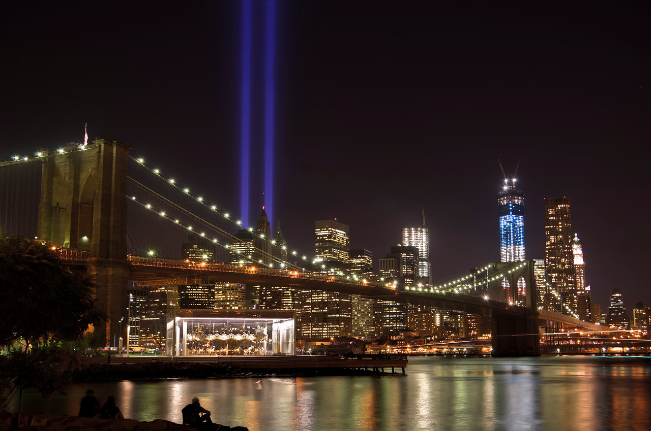 Lower Manhattan from Brooklyn - 9/11 Memorial Lights