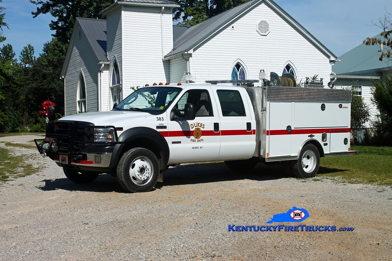<center> Dukes  Squad 503 <br> 2008 Ford F-450 4x4/Rosenbauer-Central 250/300 <br> Kent Parrish photo </center>