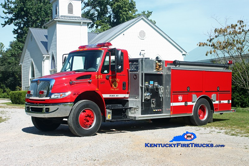 <center> Dukes  Engine 501 <br> 2007 International 4400/Rosenbauer-Central 1250/1000 <br> Kent Parrish photo </center>