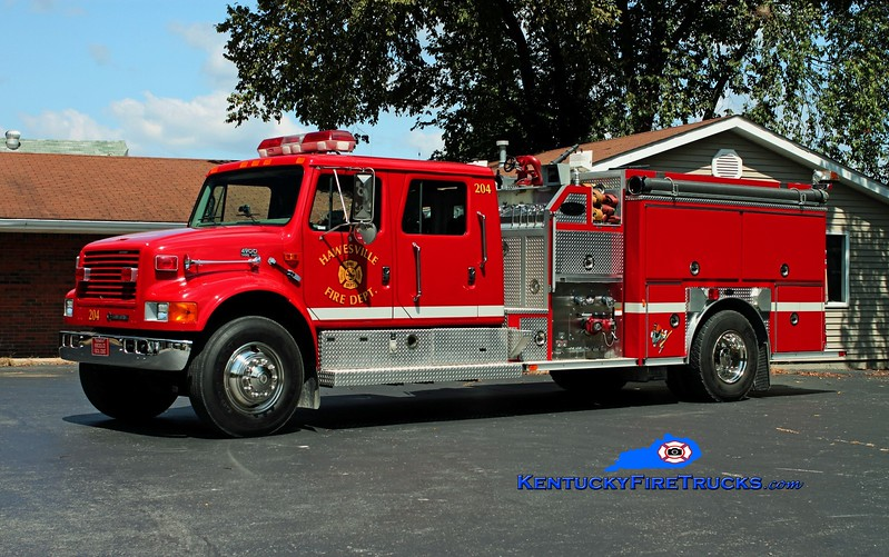 <center> Hawesville Engine 204  <br> 1997 International 4900/E-One 1250/1000 <br> Kent Parrish photo </center>