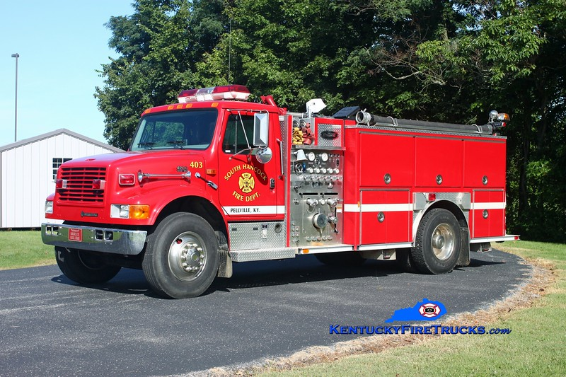<center> South Hancock  Engine 403 <br> 1998 International 4900/E-One 1250/1000 <br> Kent Parrish photo </center>