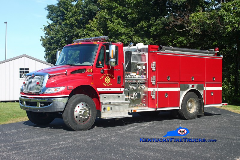<center> South Hancock  Engine 404 <br> 2008 International 4900/E-One 1250/1000 <br> Kent Parrish photo </center>