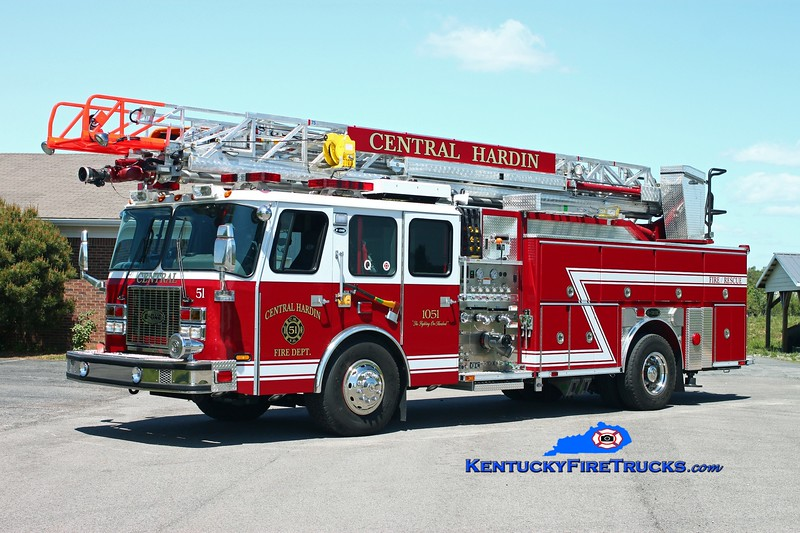 <center> Central Hardin  Quint 1051 <br> x-Kansas City, MO <br> 1998/2012 E-One Cyclone II 1500/400/75' <br> Kent Parrish photo </center>