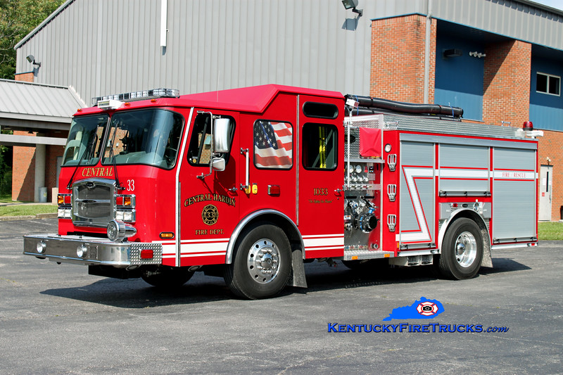 <center> Central Hardin  Engine 1033 <br> 2011 E-One Typhoon 1250/970/30 <br> Kent Parrish photo </center>