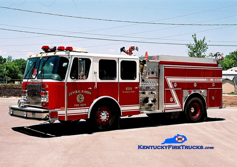 <center> RETIRED <br> Central Hardin  Engine 1034 <br> x-Kansas City, MO <br> 1998 E-One Cyclone II 1250/1000 <br> Greg Stapleton photo </center>
