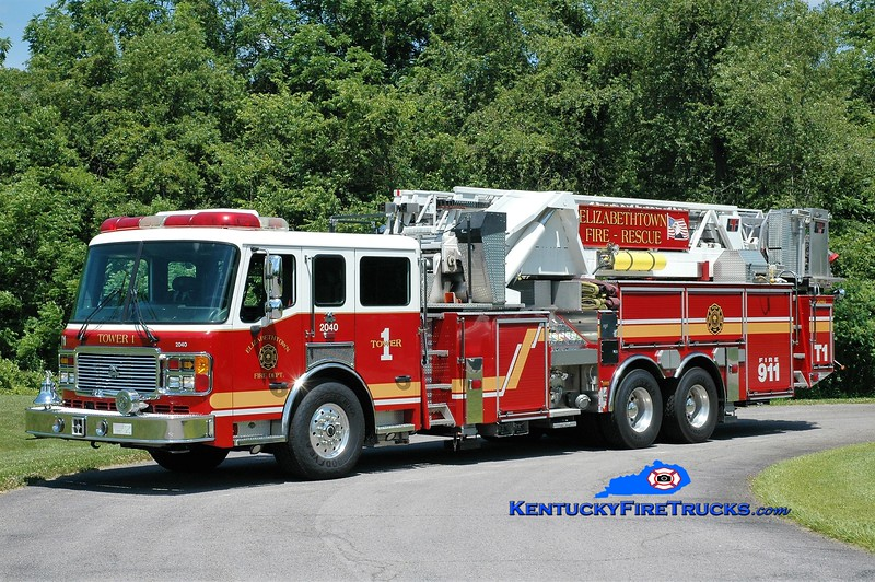 Elizabethtown  Tower 2040<br /> x-Tower 1<br /> 2004 American LaFrance Eagle/LTI 1500/300/100'<br /> Greg Stapleton photo