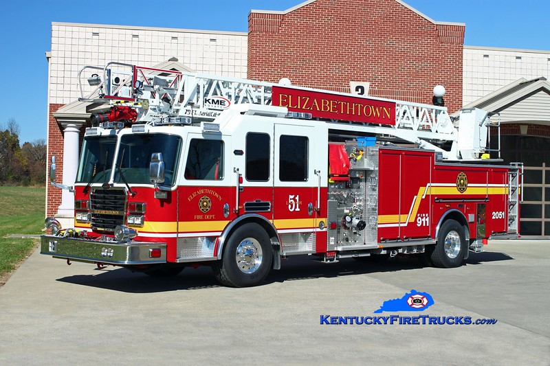 <center> Elizabethtown  Ladder 2051 <br> 2013 KME Predator 2000/500/79' <br> Kent Parrish photo </center>