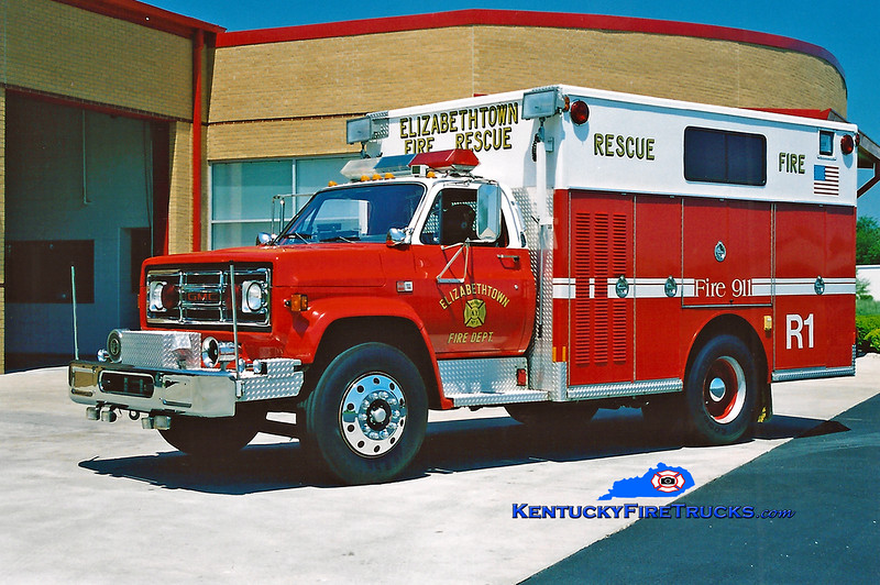 <center> RETIRED <br> Elizabethtown  Rescue 1 <br> 1987 GMC 6500/Indiana  <br> Kent Parrish photo </center>