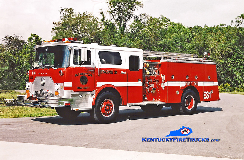 <center> RETIRED  <br> Elizabethtown  Engine 31 <br> x-Engine 20 <br> 1979 Mack CF/1996 Summit 1500/500 <br> Kent Parrish photo </center>