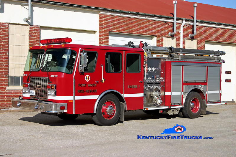 <center> RETIRED <br> Fort Knox  Engine 1 <br> 1999 E-One Cyclone II 1250/500 <br> Kent Parrish photo </center>