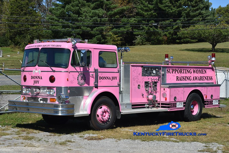 Radcliff/Vine Grove has a chapter of the Pink Heals organization, which promotes awareness and supports women's cancer through the use of former fire apparatus.   This apparatus was originally delivered to Harrods Creek in Jefferson County and also served Battletown in Meade County.  <br /> <br /> Radcliff/Vine Grove Pink Heals<br /> x-Harrods Creek & Battletown, KY<br /> 1969 Hahn 1000/500<br /> Greg Stapleton photo