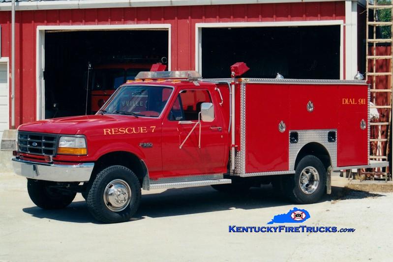 <center> RETIRED <br> Rineyville  Rescue 7 <br> 1992 Ford F-350 4x4/EVI <br> Greg Stapleton photo </center>