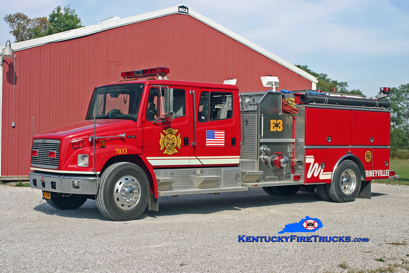 <center> Rineyville  Engine 7033 <br> 1998 Freightliner FL80/Ferrara 1250/1000 <br> Kent Parrish photo </center>