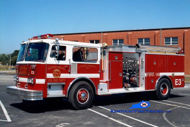 <center> RETIRED <br> Stephensburg  Engine 3 <br> 1981 Seagrave/1982 Pierce/1994 refurb 1500/1000 <br> Seagrave chassis x-Palatine, IL; Pierce body x- Bridgewater, NJ <br> Greg Stapleton photo </center>