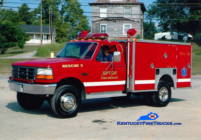 <center> RETIRED <br> Upton  Rescue 5 <br> x-Rineyville, KY <br> 1993 Ford F-350 4x4/EVI <br> Greg Stapleton photo </center>