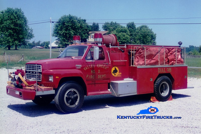 <center> RETIRED <br> Valley Creek  Engine 2 <br> 1980 Ford/Bluegrass 500/1500 <br> Greg Stapleton photo </center>