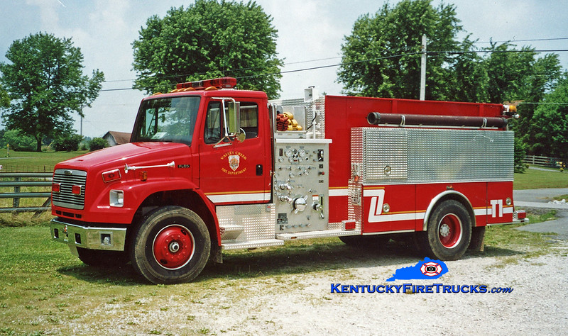 <center> RETIRED <br> Valley Creek  Tanker 1361 <br> 1998 Freightliner FL80/Ferrara 1250/1500 <br> Kent Parrish photo </center>