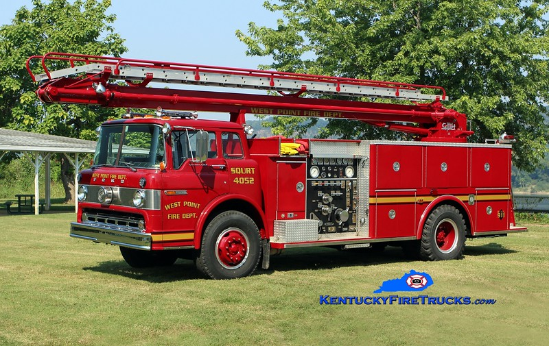 <center> West Point  Engine 4052 <br> x-Radcliff, KY <br> 1980 Ford C-8000/Pierce/2015 Local 1000/500/50' TeleSqurt <br> Kent Parrish photo </center>