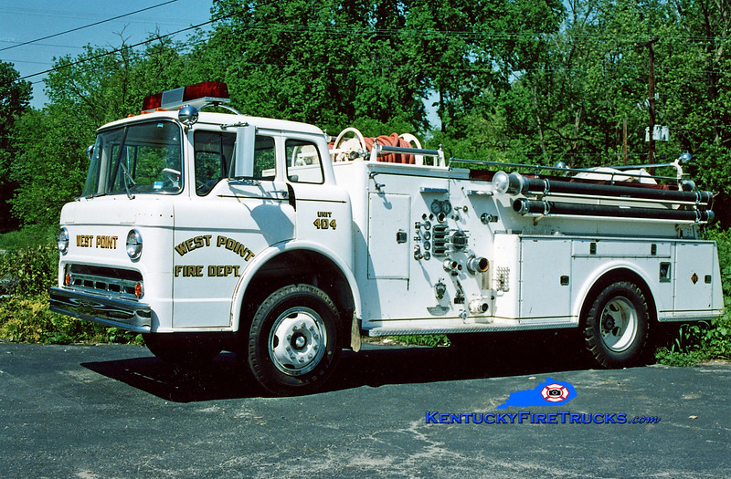 <center> RETIRED <br> West Point  Engine 404 <br> 1970 Ford C-800/American 750/500 <br> Kent Parrish photo </center>
