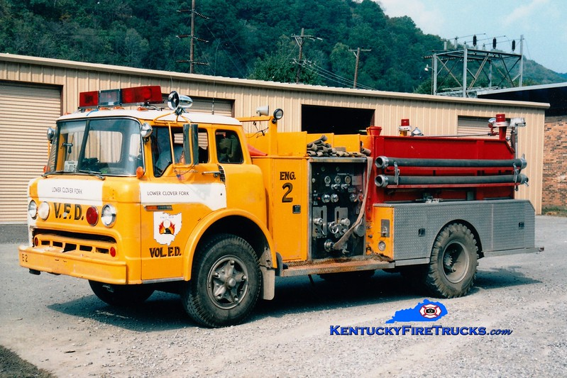 <center> RETIRED <br> Lower Clover Fork  Engine 2 <br> x-National Road, OH <br> 1974 Ford C/Bean 750/500 <br> Greg Stapleton photo </center>