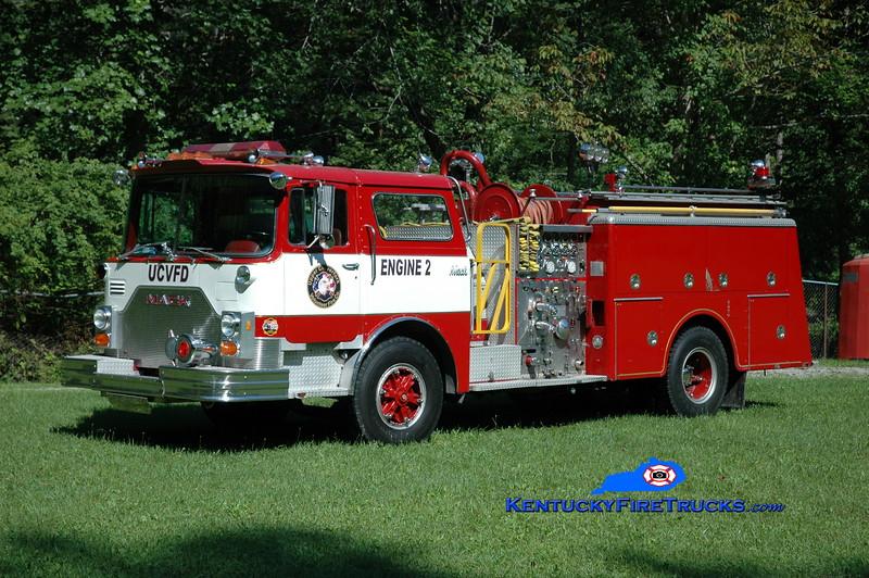 <center> RETIRED <br> Upper Clover Fork  Engine 2 <br> x-Schooley's Mountain, NJ &amp; Evarts, KY <br> 1982 Mack CF 1500/750 <br> Greg Stapleton photo </center>