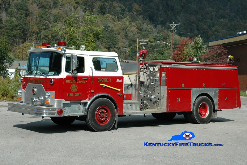 <center> Yocum Creek  Engine 3 <br> x-Milburn, NJ; Evarts, KY <br> 1987 Mack CF/Ward 79 1250/750 <br> Greg Stapleton photo </center>