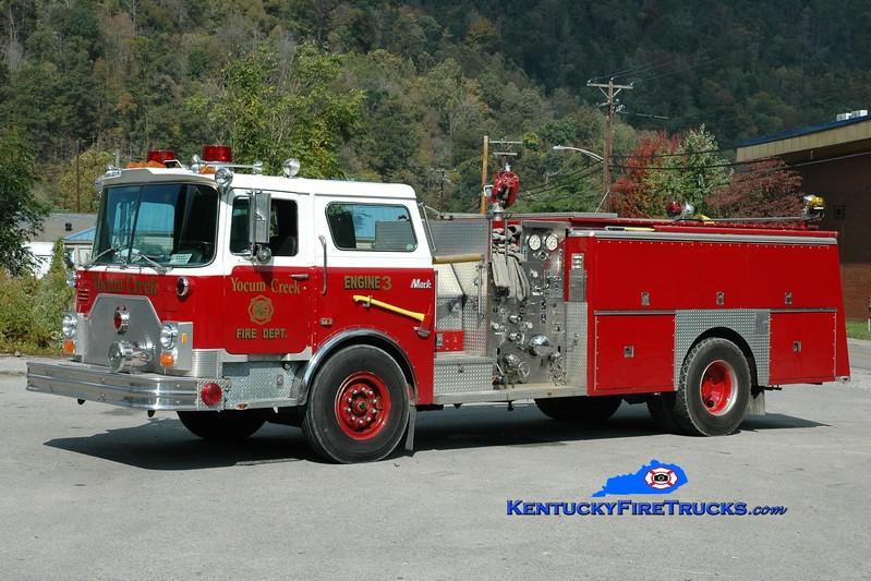 <center> Yocum Creek  Engine 3 <br> x-Milburn, NJ; Evarts, KY <br> 1987 Mack CF/Ward 79 1250/750 <br> Greg Stapleton photo </center>