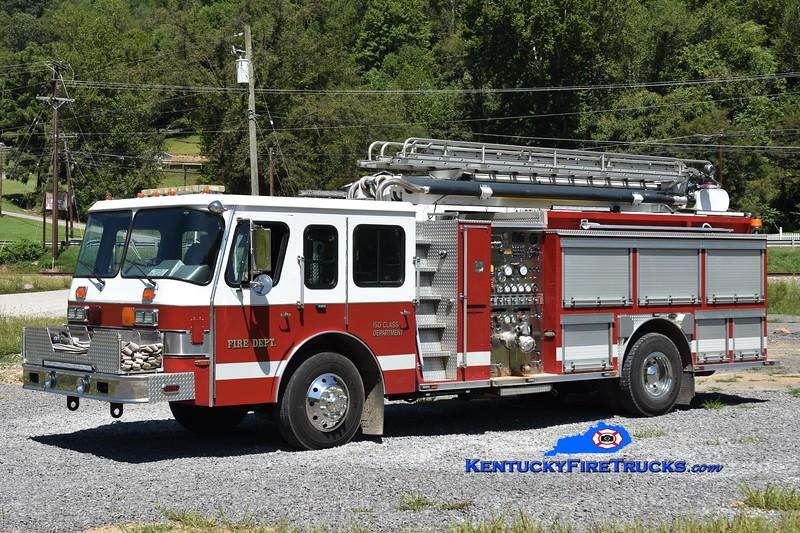 Yocum Creek  Ladder 1<br /> x-Huntsville, TN <br /> 1990 E-One Hush 1500/500/50' Teleboom<br /> Greg Stapleton photo