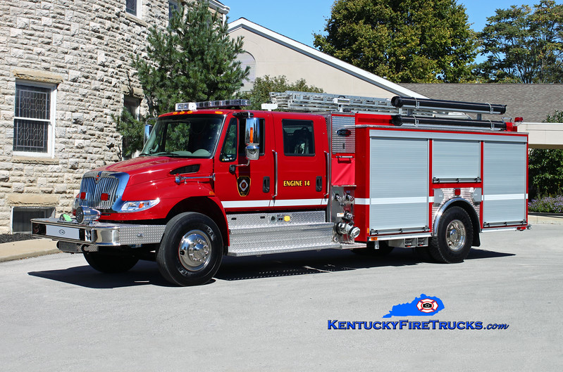 <center> Cynthiana  Engine 14 <br> 2014 International 4400/E-One eMAX 1500/780/Quad <br> Kent Parrish photo </center>