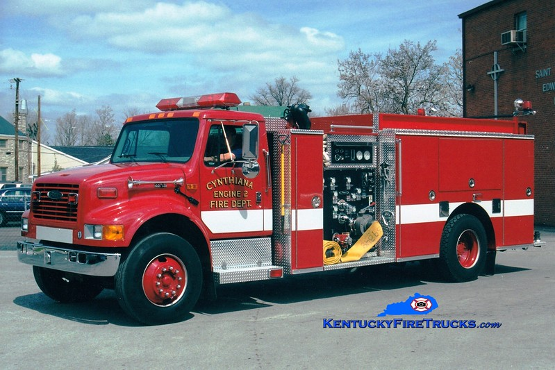 <center> Cynthiana Engine 2  <br> 1999 International 4900/Pierce 1250/500/Rescue <br> Greg Stapleton photo </center>