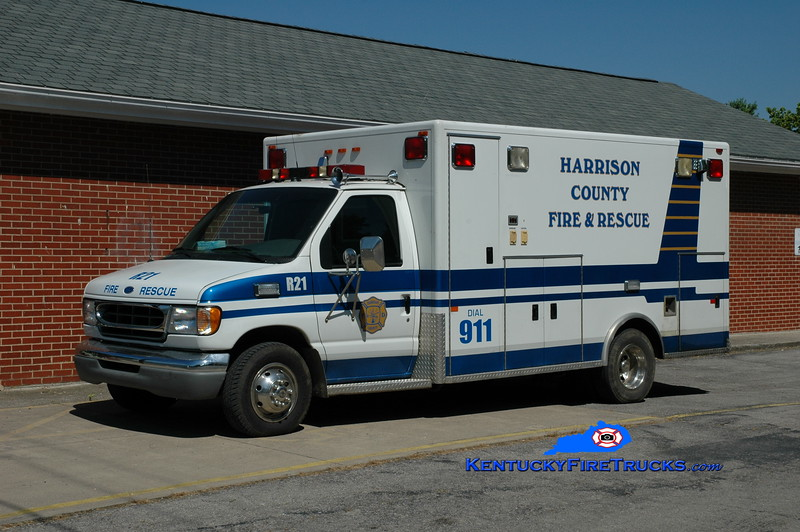 <center> Harrison County  Rescue 21 <br> x-Harrison County EMS <br> 1995 Ford E-350/PL Custom  <br> Greg Stapleton photo <br> </center>
