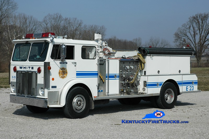 <center> Harrison County  Engine 23 <br> x-Milford, OH; Northern Pendleton, KY <br> 1976 White Expeditor/FMC-Bean 1000/1000 <br> Greg Stapleton photo <br> </center>