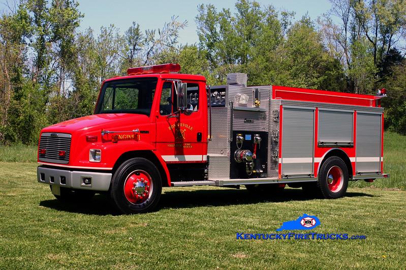 <center> Bonnieville  Engine 11 <br> 2001 Freightliner FL70/Central States 1000/1000 <br> Kent Parrish photo </center>