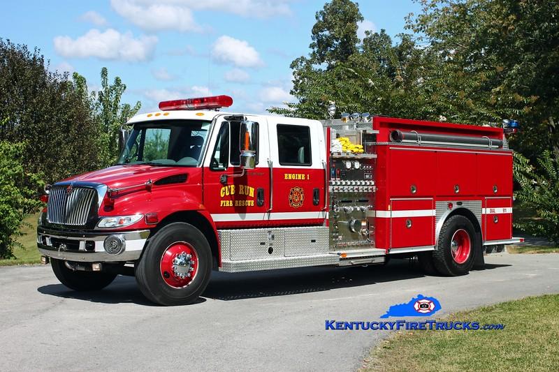 <center> Cub Run Engine 1 <br> 2002 International 4400/E-One 1250/1000 <br> Kent Parrish photo </center>