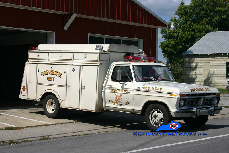 <center> RETIRED  <br> Hardyville  Rescue 3  <br> 1972 Ford F-350/Patterson <br> Kent Parrish photo </center>
