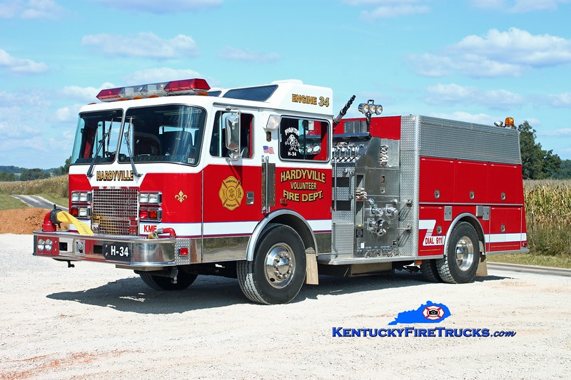 <center> Hardyville  Engine 34 <br> x-Topton, PA <br> 1993 KME Renegade 1500/1000 <br> Kent Parrish photo </center>